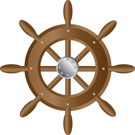 marine ship: Ship steering wheel icon on white background Illustration