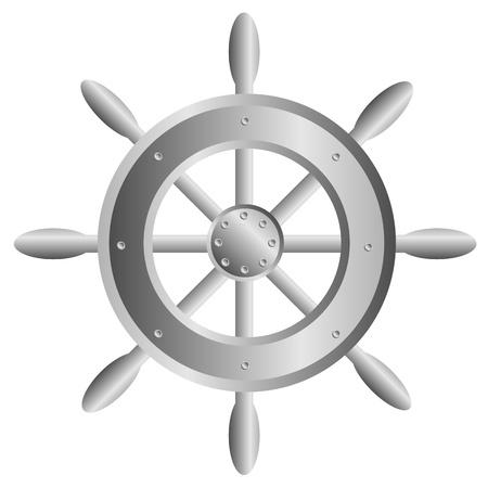 Icona del volante della nave su fondo bianco