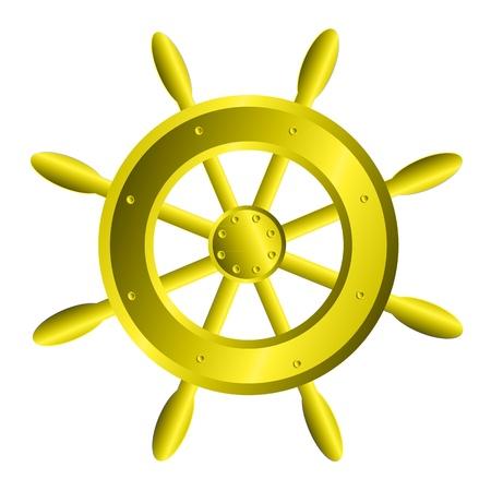 timone: Nave volante icona dello sterzo su sfondo bianco