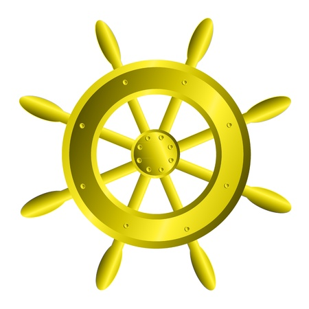 schooner: Ship steering wheel icon on white background Illustration