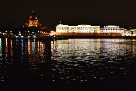 synod: Night view of the St Petersburg. The building of the Senate and the Synod. Russia
