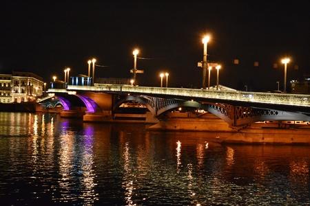 Night view of Blagoveshchensky Bridge in St Petersburg, Russia.