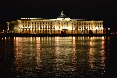 Night view of Academy of Neva river and Arts in St.Petersburg, Russia photo