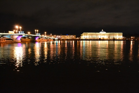 blagoveshchensky: Night view of Neva river in St Petersburg,Russia