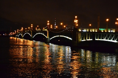 St.Petersburg, Russia, night view of the Troitsky Bridge with illumination photo