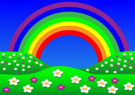 Paisaje hermoso del verano con el arco iris. ilustración.