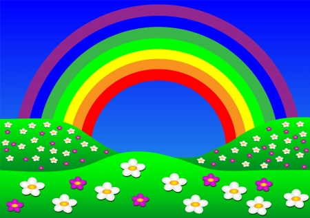Beautiful summer landscape with rainbow. illustration. Vector