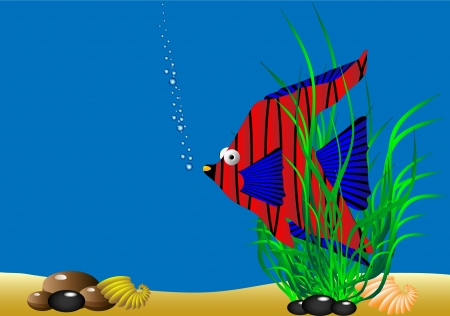 The marine life - tropical fish in green algae. illustration. Vector
