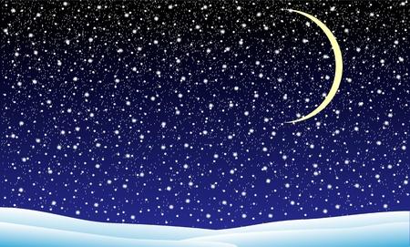 Winterlandschaft mit fallendem Schnee in der Nacht-Darstellung Standard-Bild - 11341872