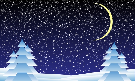 Winter landscape with falling snow at night- illustration Vector