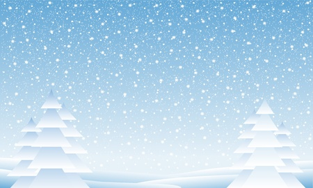 Winter landscape with falling snow - illustration Vector