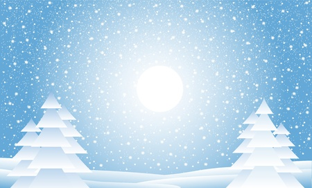 seasonable: Winter landscape with falling snow - illustration