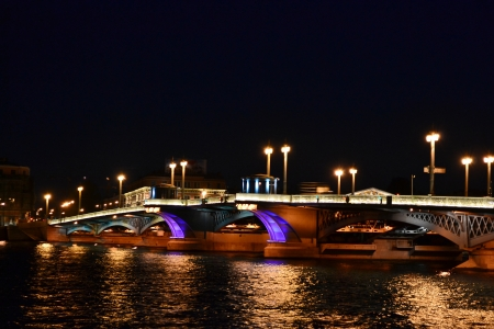 Night view of Blagoveshchensky Bridge in St Petersburg, Russia. photo