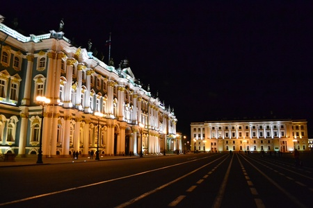 The State Hermitage Museum at night in St.Petersburg, Russia photo