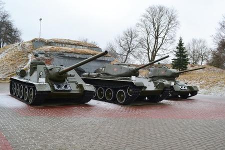 Three soviet tanks in memorial complex Brestskaya fortress.