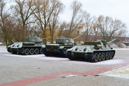 Three soviet tanks in memorial complex Brestskaya fortress.