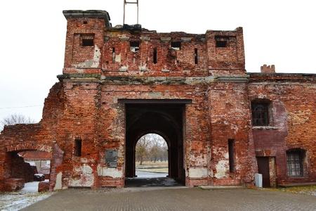 brest: Old destroyed gate in Brest Fortress, Belarus