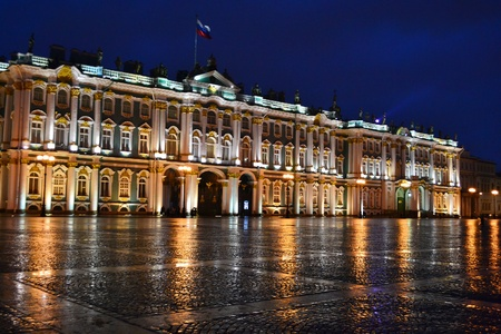 The State Hermitage Museum at night in St.Petersburg, Russia. Little noise. Editorial
