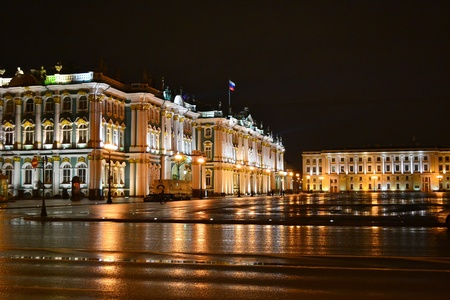 The State Hermitage Museum at night in St.Petersburg, Russia.