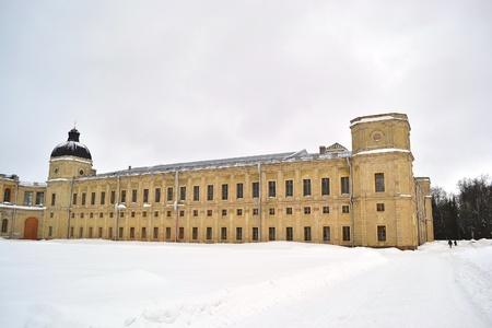 A fragment of the Big Gatchina palace at winter, Gatchina, Russia