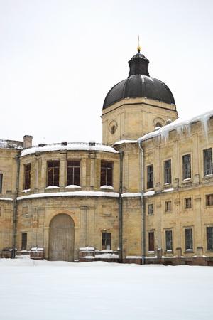A fragment of the Big Gatchina palace at winter, Gatchina, Russia photo