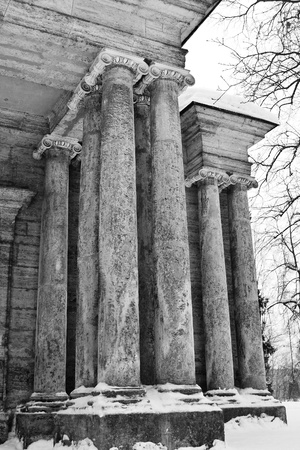Columns. Architectural detail of building in Gatchina, Russia. Black and white. Stock Photo - 11356324