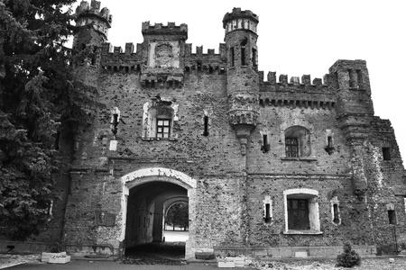 brest: Kholmskiye gate in Brest Fortress, Belarus. Black and white. Editorial