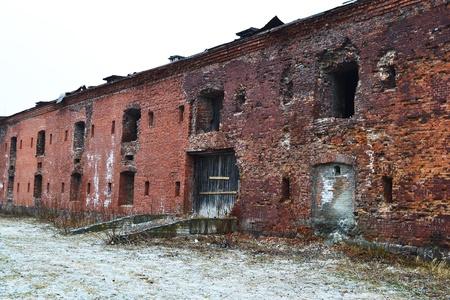 brest: Wall of the Brest Fortress in Brest, Belarus