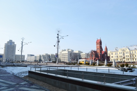 View of Independence Square on a sunny spring day, Minsk, Belarus