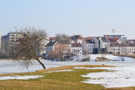 Troetskae pradmests - old part of Minsk on a sunny spring day, Belarus
