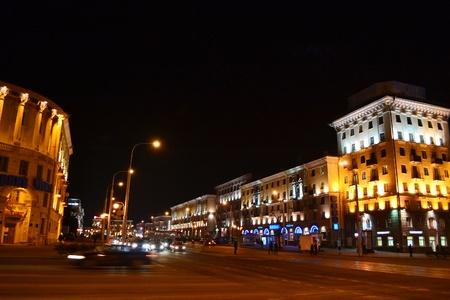 Night cityscape of Minsk, Belarus