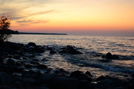 The photo of summer sunset on lake Ladoga Stock Photo - 11469509