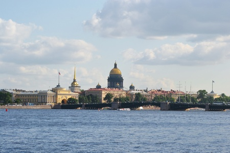 View of the St.Petersburg. St. Isaac's Cathedral and the Palace Bridge photo