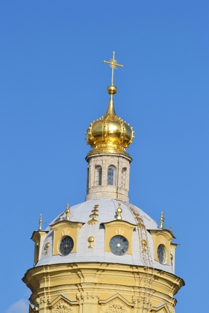 piter: Cathedral in St.Peter and Paul fortress in St.Petersburg Russia Stock Photo