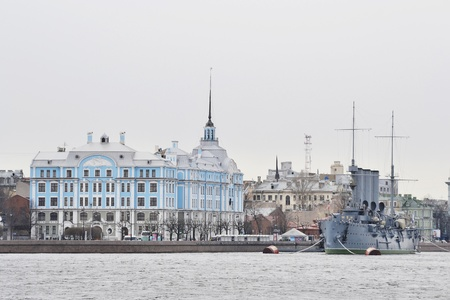 View of the St.Petersburg with Aurora cruiser and Nakhimov College on a cloudy day, Russia. photo