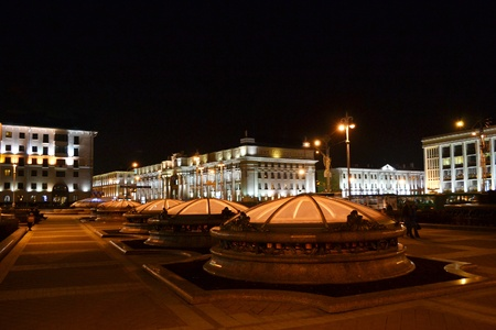 Independence Square. Night cityscape of Minsk, Belarus photo