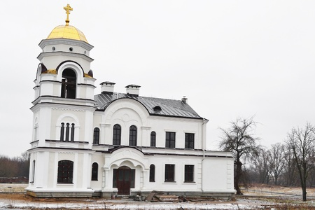 brest: Church in Brest Fortress, Belarus. Early spring. Stock Photo