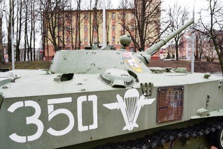 Vitebsk, Belarus -  April 9, 2011: soviet armored troop-carrier in museum Stock Photo - 11379371