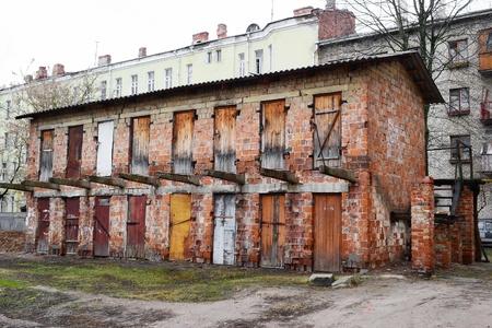 devastation: The old dilapidated building in the historic part of Vitebsk, Belarus.