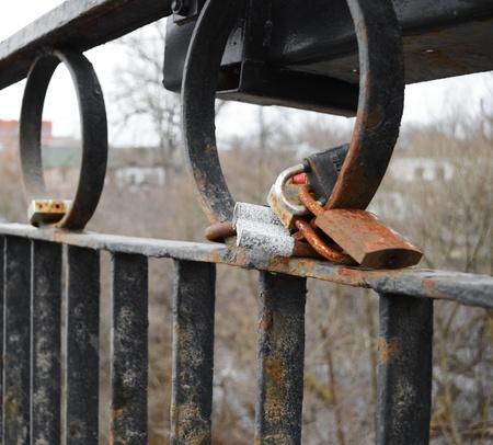 Locks of Love on the bridge in Polotsk, Belarus photo