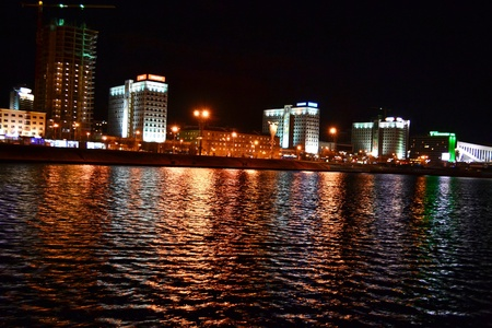 svisloch: Night cityscape of Minsk. View of the river Svisloch. Stock Photo