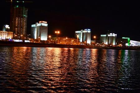 Night cityscape of Minsk. View of the river Svisloch. Stock Photo - 11471392