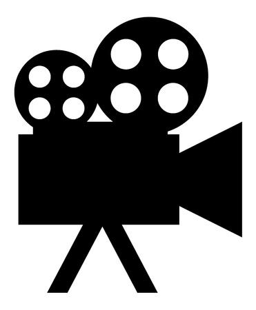 movie sign: Icono (bot�n). La silueta Videocamera.