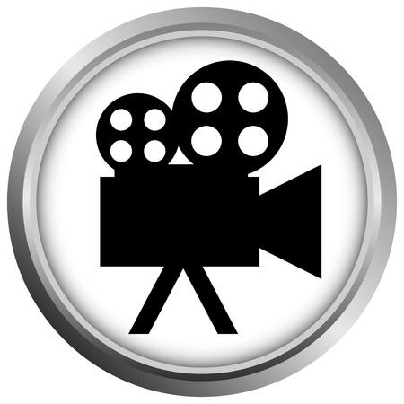 movie sign: icono (bot�n). La silueta c�mara de v�deo.