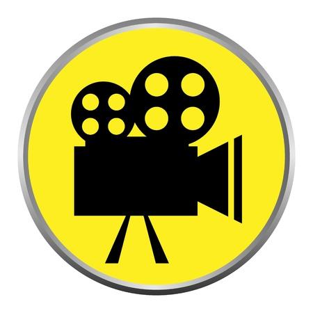 movie film: icon (button). The Videocamera silhouette.