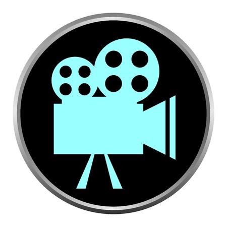 camara de cine: Icono (bot�n). La silueta Videocamera.