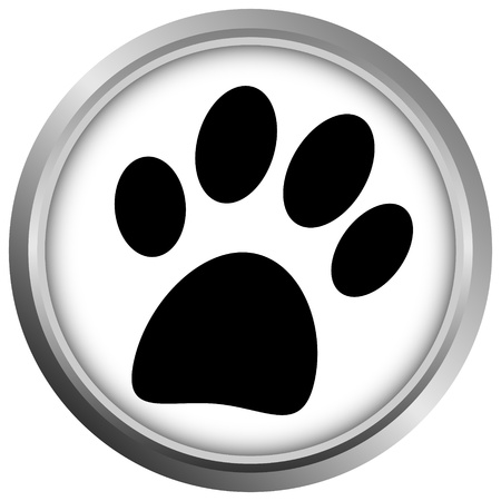Paw-knop op witte achtergrond