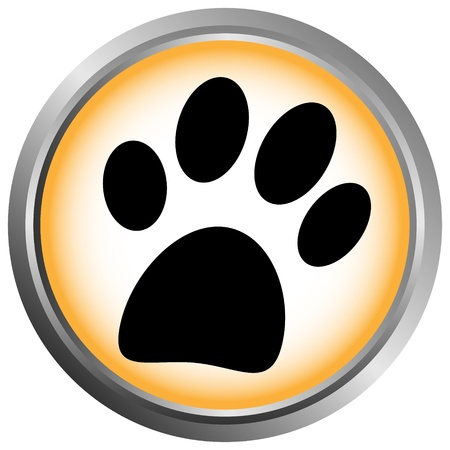 webmaster website: Paw button on white background Illustration
