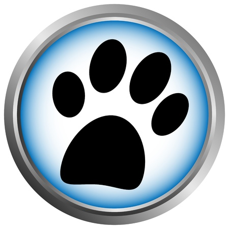 veterinary symbol: Paw button on white background Illustration
