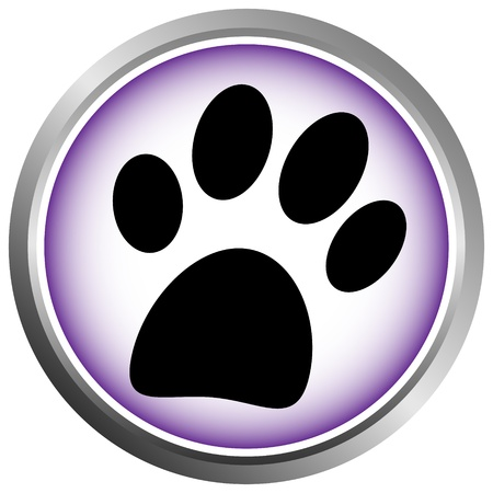 veterinary: Paw button on white background Illustration